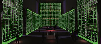Una fase di allineamento geometrico dei proiettori sui rispettivi schermi. L'installazione comprende in totale 16 proiettori laser Nec P502HL: lungo le due pareti laterali ne sono stati installati cinque per lato, proiettano su teli da 7x4 metri disposti sulla parete opposta. La proiezione frontale, invece, coinvolge sei proiettori in edge blenging, che compongono un'immagine da 12x15 metri.